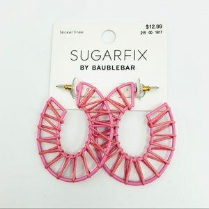 Pink metal and string earrings. Nickel free.